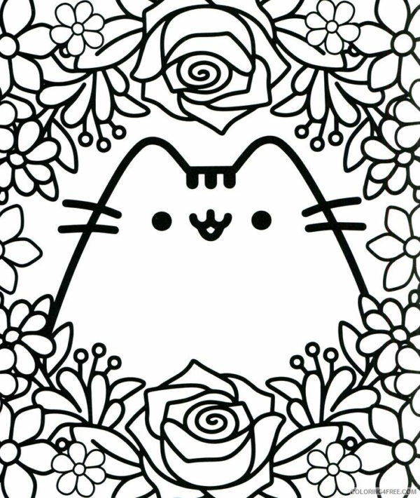 Pusheen with flowers for coloring