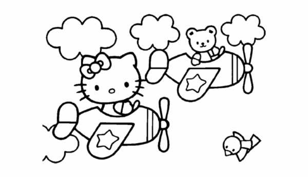 Hello Kitty on the plane coloring page