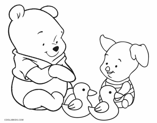 cute Pooh and Piglet coloring pages