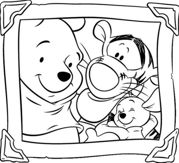 Pooh's gang portrait to color