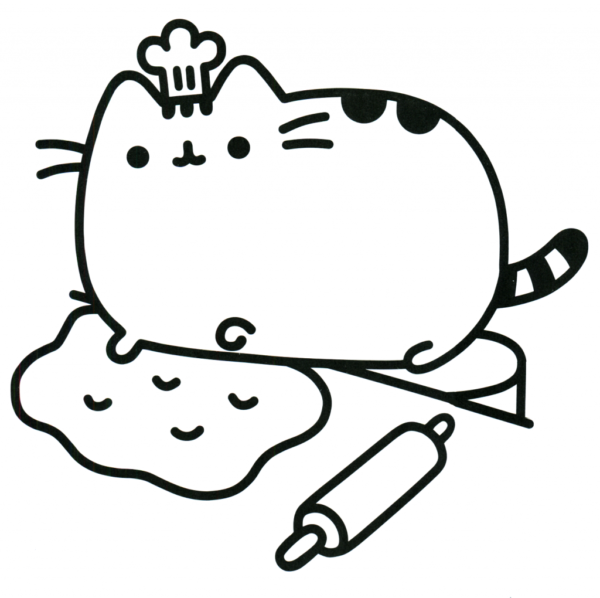 Pusheen in the kitchen coloring