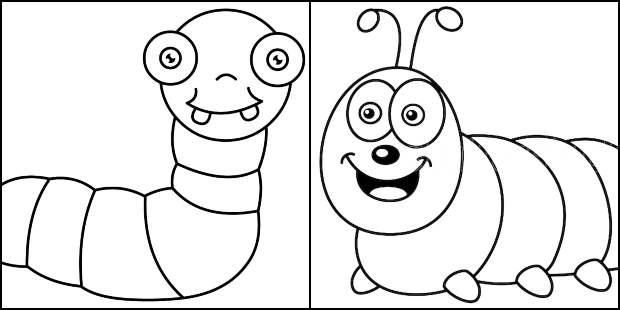 Beautiful caterpillar drawings to paint
