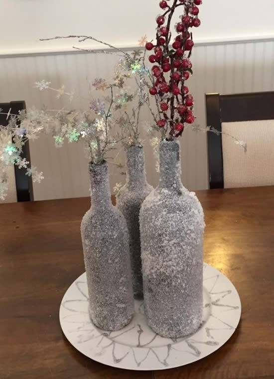 Christmas decoration with glass bottles