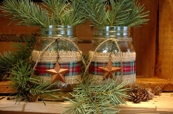 Pots and Bottles Decorated for Christmas