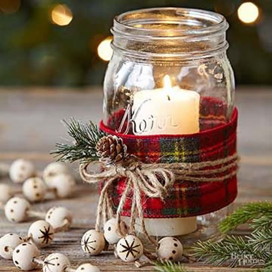 Candle decorated for Christmas