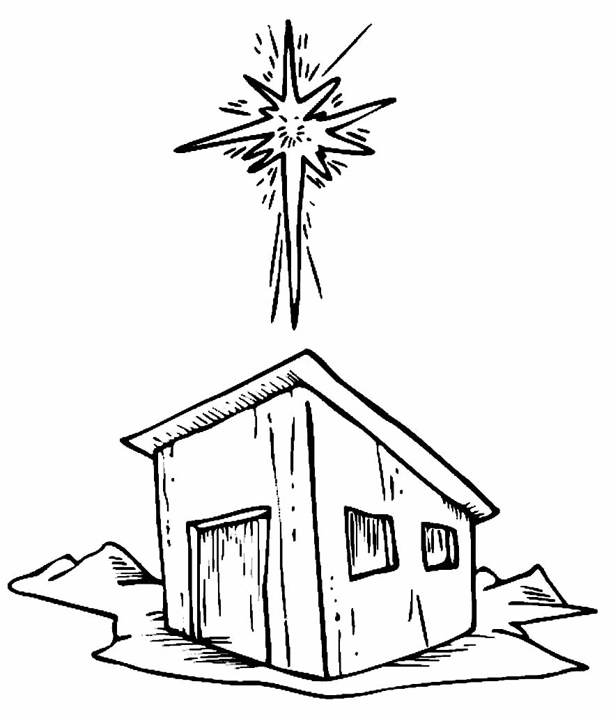 Christmas star coloring page - Drawing