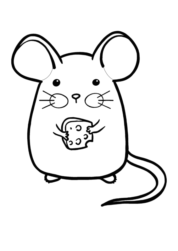 cute coloring pages (mouse with cheese)