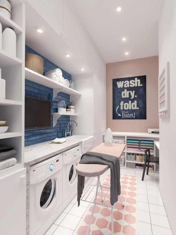 small laundry and ironing rooms
