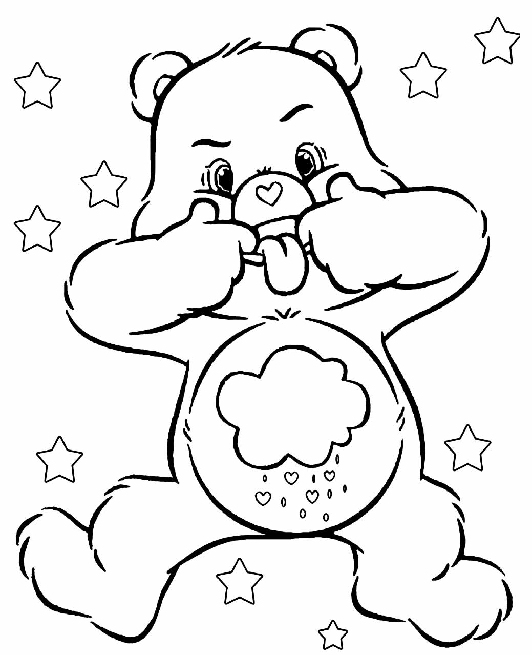Drawing of Care Bears to paint