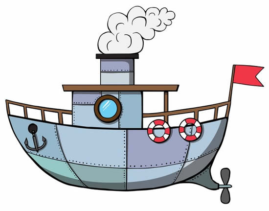 Colored boat drawing