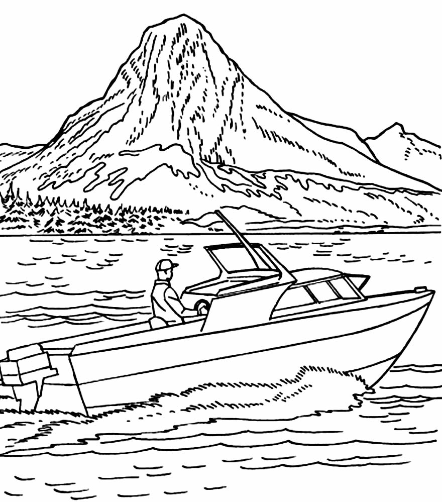 Speedboat coloring page
