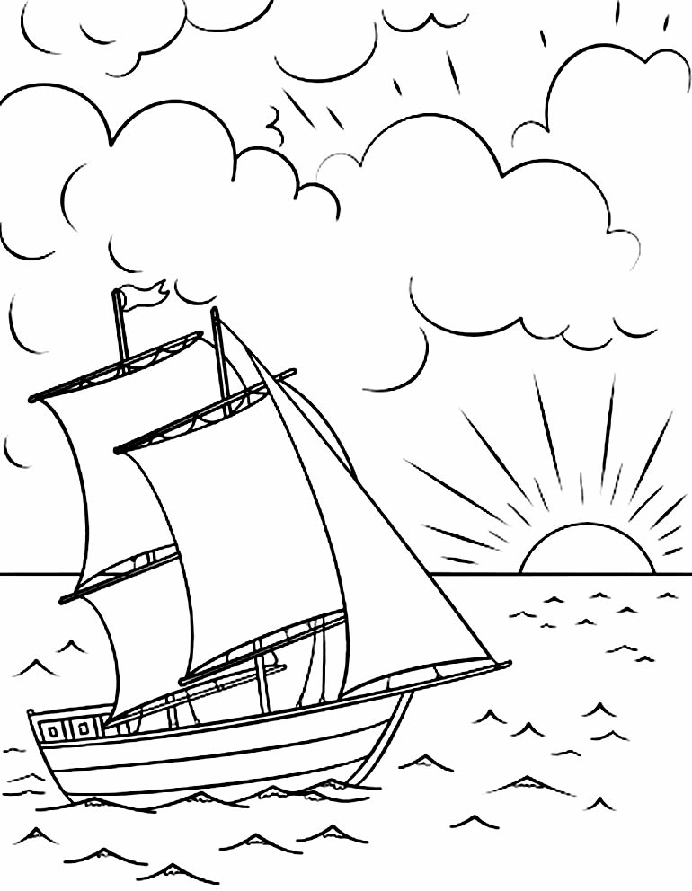 Boat drawing to paint