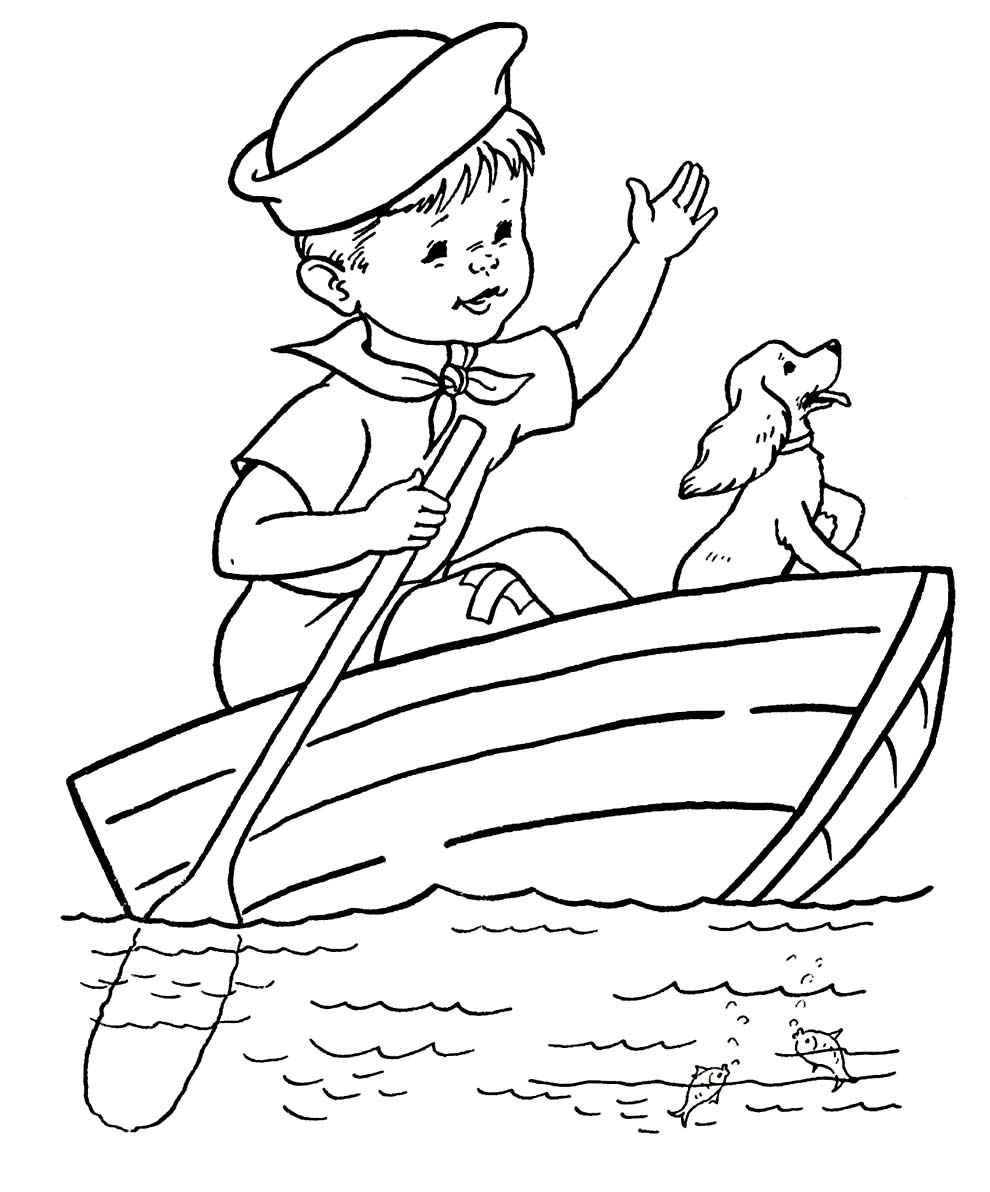 Boat drawing for coloring