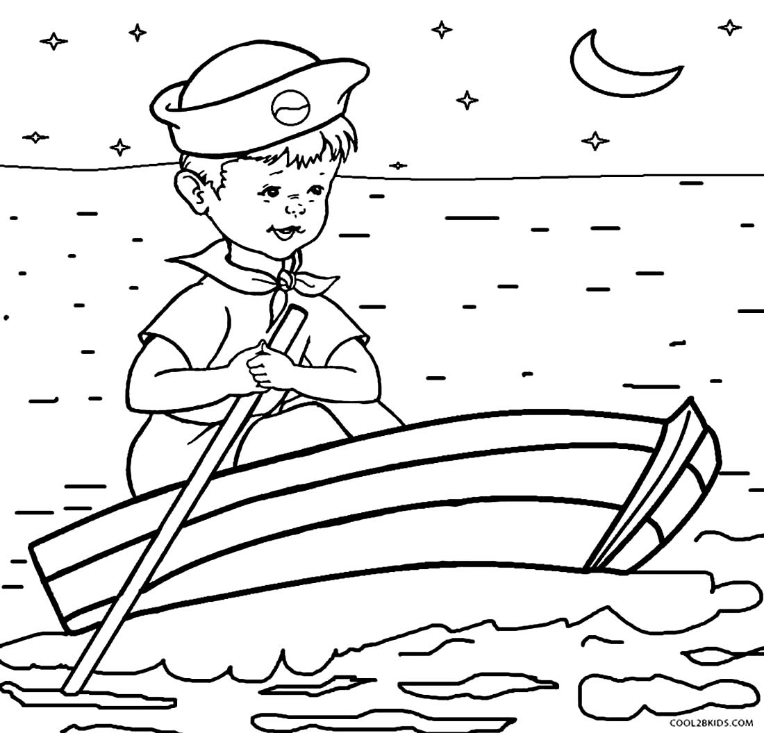 Drawing of little boats to color