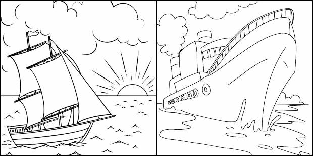 Drawings of boats and ships to color