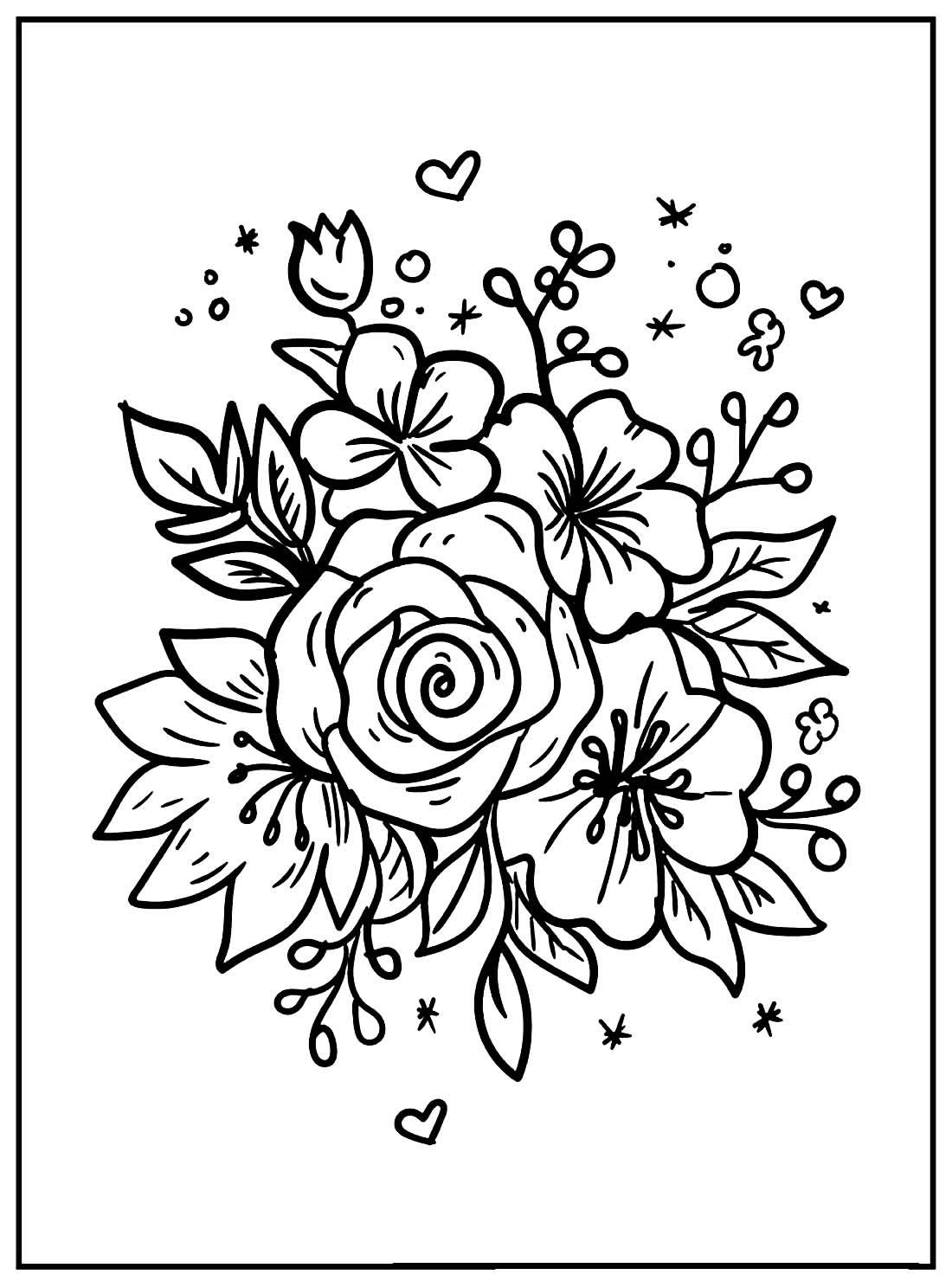 Flower drawings to color